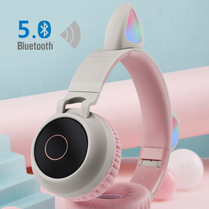 2020 Kids gift BT5.0 Cat Ear Headsets Wireless Hifi Stereo sound Noise Cancelling Headphones LED Luminous with Microphone for Christmas