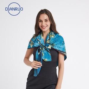 Dianruo İspanya Lüks Ipek Eşarp Kadın Tasarımcı Yağlıboya Çiçek Ipek Şallar Bayanlar Sarar Atkılar Şal N3851