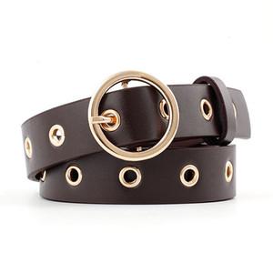 Mulheres Nova Qualidade de Alta Qualidade PU Couro Calças de Couro De Ouro Círculo Anel Pin Gesp Eye Tin Agulhas Modo Cinto Casual Cintura Banda