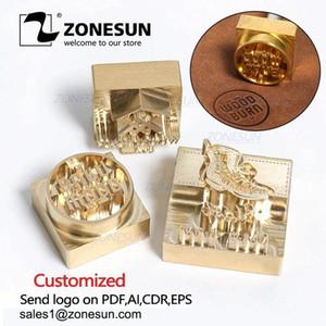 ZONESUN Индивидуальный логотип штамп латунная плесень кожаная древесина PU медный штамп плесен для машины горячая фольга печать