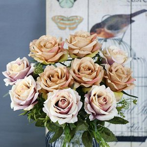 1pcs New 6 Heads Silk Roses Artificial Flowers Fake Roses Bridal Bouquets Home Wedding Party Decoration