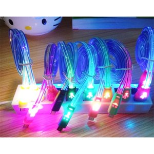 Visible LED Light Smile Face Micro USB Cable 1m 3ft Noodle Charger Luminous Charging Lighting Line For Samsung HTC Andriod Phone ap 5