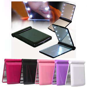 Lady LED Makeup Mirror 5 Color Cosmetic 8 LED Mirror Folding Portable Travel Compact Pocket led Mirror Lights Lamps LLS370