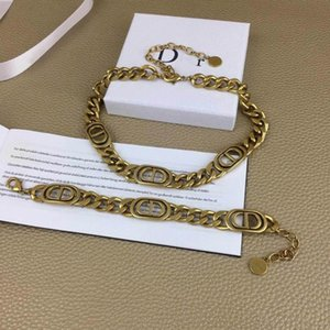 Explosion classic rose CD chain navy thick brand designer jewelry letter gold luxury choker designer jewelry women designer necklace 6 98Bz#