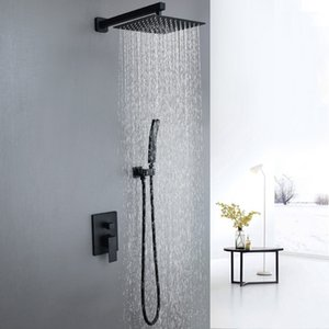 2 Functions Concealed In Wall Shower Set 304 SS 250x400mm Large Shower Head Dual Handle Brass Shower Valve Set Matte Black