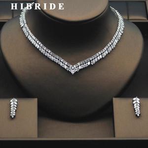 Hibride Schöne Blattform Elegante Frauen Bridal Schmuck Set Top Qualität Weibliche Verlobung Halskette Ohrring Set N-276