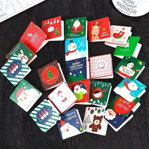 144pcs envelope lot Cute Cartoon Small Santa Claus Snowman Merry Christmas Postcard mini greeting thank you card Gift