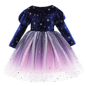 Toddler Girls' New Year Dresses Princess Long Sleeve Plus Velvet Gown Baby Girls Party Wedding Dress Children's Clothes