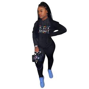 Plus Size Women Black Smart Tracksuit Designer Hooded Hoodies Trousers Outfit Two Piece Clothing Set Sweatshirt Legging Pants Suit E112305