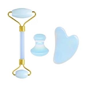 Natürlicher Opal Jade Roller Schaber für Gesicht GUA SHA Massage Werkzeug Set Gesichtsroller Massager Guasha Board Jade Massager Set