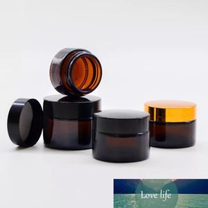 100 adet 20g Amber Cam Kavanoz Bosx Kozmetik Krem Şişeleri Yüz Kremi Siyah Kap Cam Durumda Kozmetik Konteynerler Depolama Şişeleri