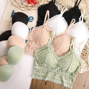 Sexy Lace Bra Hollow Flowers Tube Top Crop Top for Women Tank Lingerie Bralette
