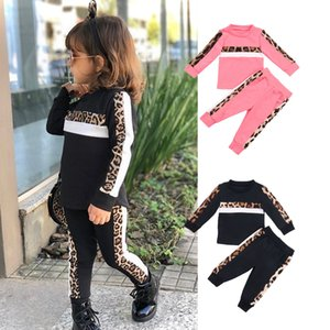 2PCS Toddler Girls Autumn Winter Clothes Set Leopard Print Long Sleeve Sweatshirt& Striped Pants Kids Children Outfits for 1-6Y Q1203