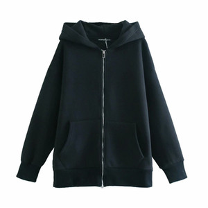 2021 New Streetwear Solid Hoodies Fashion Cotton Ladies 100% Loose Female Tops Chic Purse Long Zipper with Hood 6MLD