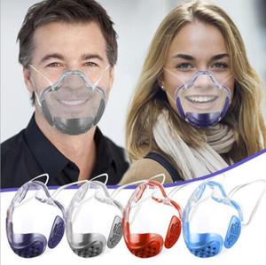 PC Transparent Mask Idioma de labio Dudas Sordas con válvula de aliento Aislamiento a prueba de salpicaduras Cubierta de boca clara Máscaras protectoras al aire libre BWB3220