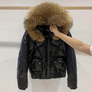 Janveny Real WacoN мех с капюшоном 2020 женская куртка зимняя водонепроницаемая короткая утка вниз пальто женский блестящий пух пучок Parka