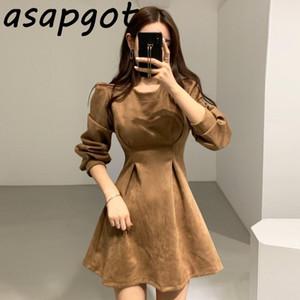 Asapgot Kore Chic Zarif Işık Olgun Kadın Sonbahar Kış Mizaç Retro Bel Ince Yuvarlak Boyun Mini Elbise Kadınlar Tam 201028