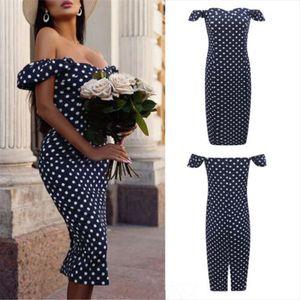 Polka Dot Print Hip Women Dress Off Shoulder Short Sleeve Bodycon Dress Formal Evening Party Dresses