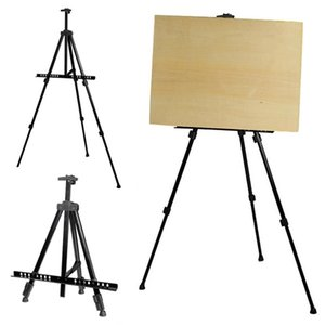 Adjustable Tripod Folding Easel Display Art Artist Sketch Painting Exhibition Aluminium Alloy Silver Black with a Nylon Bag Y200428