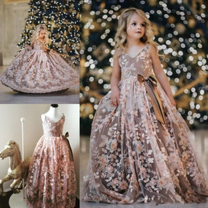 Princess Flowers Girls Dresses Pearls Lace Appliques Kids Toddlers Pageant Gowns For Wedding Teens Kids Birthday Party Dress Robes De Fête
