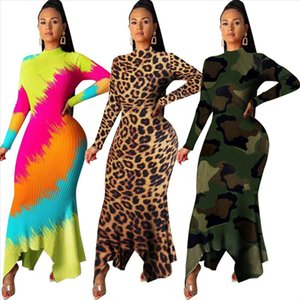 Women Winter Bodycon Long Maxi Dress Striped Leopard camouflage Print Knitted Sexy Club Night Party Full Sleeve Dresses K8862