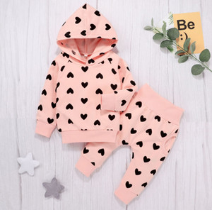Baby Girls love heart printed outfits 2021 new kids long sleeve hooded sweatshirt+pants 2pcs sets valentine's day children clothing A5684