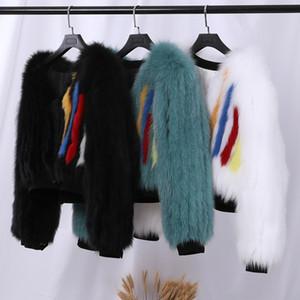 2020 Women's Winter Genuine Fox Stripes Short Jacket Real Fur Coat V neck Long Sleeve Bomber Jackets Lady Fashion Outerwear