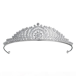 Newest Luxury Cubic Zirconia Princess Tiaras and Crowns CZ Wedding Women Hair Jewelry Bridal Headpieces JCI089