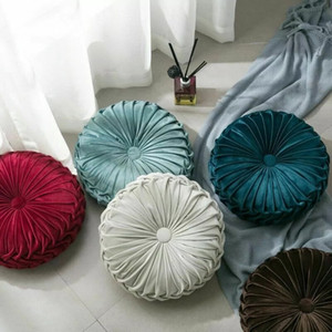 Newest Home Textile Velvet Pleated Round Solid Color Cushion Pouf Throw Home Soft Cushion Fashion Hot Pillow