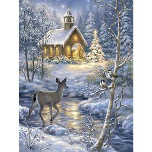 Diy 5D Diamond Painting Winter Snow Landscape Cross Stitch Full Diamond Embroidery Nature and Animal Rhinestones Mosaic Picture