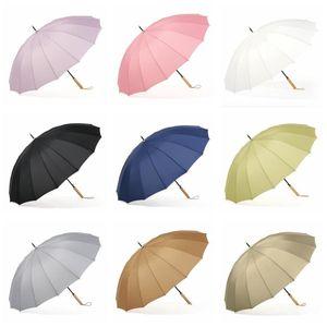 Guarda-chuvas de alça de madeira Customizable Promoção Sólida Golf Forte Unisex Guarda-chuva Proteção UV Guarda-chuva 9084