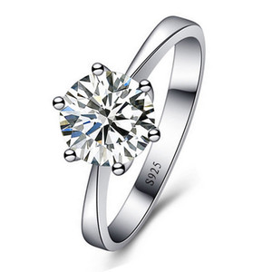 18k Classic Platinum plated large CZ diamond silver rings Top Design six prong bridal wedding Ring for Women