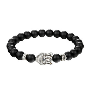 JAAFAR 2020 New design men chain hand volcanic rock natural stone beaded Buddha head bracelet punk jewelry fashion jewelry AS298