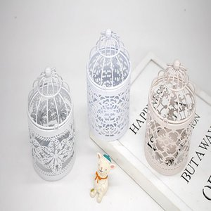zakka Hollow Pattern Bird Cage Creative Home Decoration European-style Decorative Iron Art Can Put Candles Metal Candle Holder DHL Free