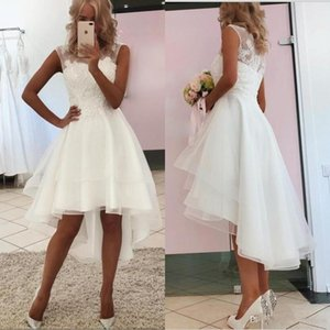 Setwell Jewel Sheer Neck A-line Wedding Dresses Sleeveless Lace Appliques Pleated Hi-Lo Beach White Bridal Gowns