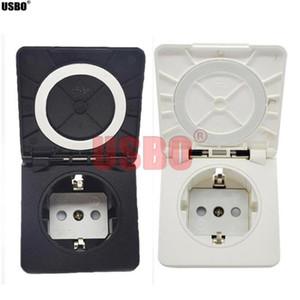 Black White 16A 250V IP44 square cover European German outdoor waterproof power socket industry Waterproof socket