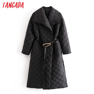 Tangada Women Black Long Parkas With Belt Pockets 2020 Autumn Winter Female Office Lady Elegant Overcoat QN50