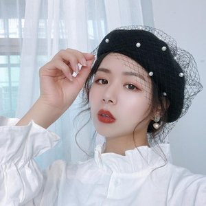 Luxury-020 Fashion Winter and Autumn Lace mesh beret student female British retro painter hat Korean pumpkin bud hat GT09