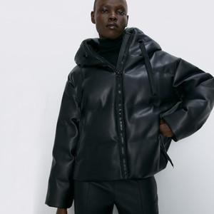 2020 Winter Coat Hooded Faux Leather Parkas Women Fashion PU Leather Coats Women Elegant Zipper Cotton Jackets Female Ladies IT