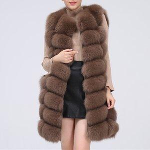 Fashion Natural Real Fox Fur Vest Jacket Coat Gilet Women Short Sleeveless Winter Thick Warm Genuine Fox Coats Free Shipping
