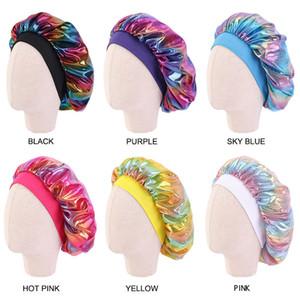 Cute Hot Sale Children's Elastic Hair Cap For Sleeping Laser Headband Baby Shower Bath Silk Night Styling Turban Round Hat