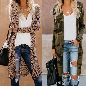 Queda das mulheres suéteres moda camuflagem leopardo impressão manga longa cardigan casacos botão menos mulheres jaquetas mais