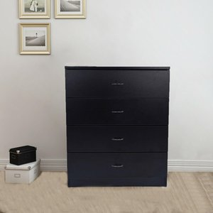 New 4 Drawer Chest Dresser Clothes Storage Bedroom Furniture Cabinet Black