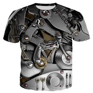 3D Motorcycle Punk Clothing Retro Clothes Mechanical Tshirt Tops Tees Men Summer Funny Print T-shirt Mens Tee Plus Size Q1126