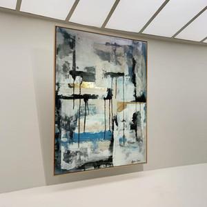 XL Абстрактная живопись Art Холст Картина Картина Большой Oversized Живопись Огромный Gold Leaf Black Art Canvas Art