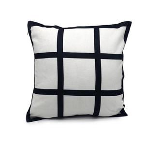 9 paneles de almohada cubierta sublimación fundición de almohada de la rejilla negra tejido de poliéster de la transferencia de calor de la transferencia de calor de throw Sofa Sofá fundas de almohadas 40 * 40 cm HHE4115