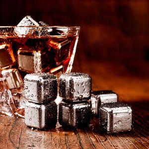 6pcs / 세트 큐브 얼음 얼어 붙은 금형 세트 스테인레스 스틸 아이스 금속 모델 집게 커피 음료 위스키 바 아이스 와인 돌 크리 에이 티브 용품 HHE3421