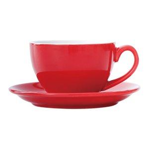 220ml Keramik Kaffeetasse mit Teller Saucer Set European Color Glaze Milch Cappuccino Latte Cup Kaffeetasse Set Sea Shipping GWF4514