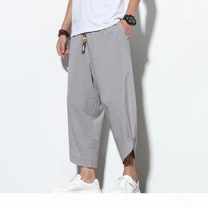 Men Solid Korean Style Sweatpants Mens 2020 Cotton Linen Ankle-Length Loose Trousers Male Oversize Toursers Pants 5XL