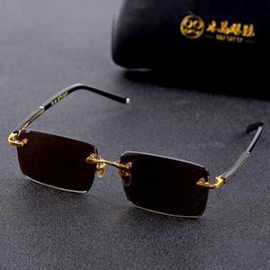 Vazrobe Cam Güneş Gözlüğü Erkek Bayanlar Çerçevesiz Güneş Gözlükleri Erkekler için Kahverengi Taş Lens Anti Scratch Marka Tasarımcısı Vintage Gözlük Z1209